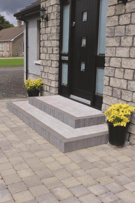 Tobermore Country Stone Cedar & Slate, Tegula Slate, Sienna Setts Silver with Step Risers Charcoal