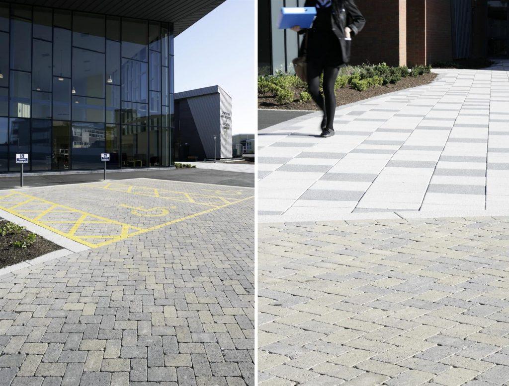 Granite Finish Paving - Chryston High School, Glasgow: Mayfair Flags in Silver and Graphite, Pedesta in Bracken