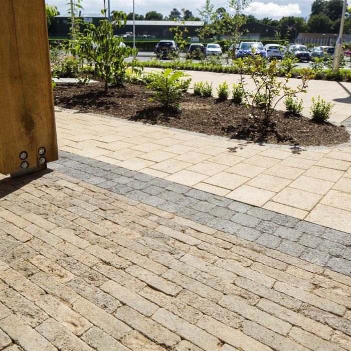 tobermore sienna sandstone tegula setts charcoal retro bracken kerbstone charcoal allen park leisure centre antrim